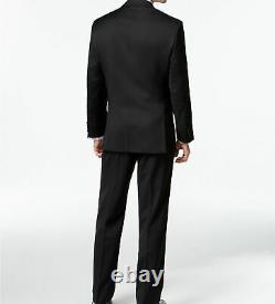 $798 Calvin Klein Men's Black 2 Piece Wool Fit Suit Jacket Blazer Pants 40 R