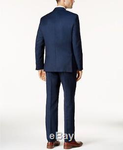 $799 CALVIN KLEIN Men's BLUE EXTRA SLIM FIT WOOL SUIT JACKET BLAZER PANTS 40 R