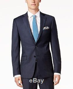 $799 CALVIN KLEIN Men's BLUE STRIPED SLIM FIT WOOL SUIT JACKET BLAZER PANTS 38 R