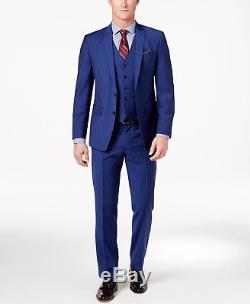$800 TALLIA ORANGE men BLUE SLIM FIT WOOL THREE PIECE SUIT JACKET PANTS VEST 44R