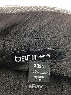 $820 BAR III men GRAY SLIM-FIT 3-PIECE WOOL SUIT JACKET BLAZER VEST PANTS 42 R