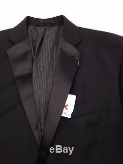 $845 CALVIN KLEIN men BLACK SLIM-FIT 2 PIECE TUXEDO WOOL JACKET PANT BLAZER 40 R