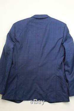 $850 Hugo Boss Huge / Genius Slim Fit Suit 40R / 34 x 32 Blue Windowpane Wool