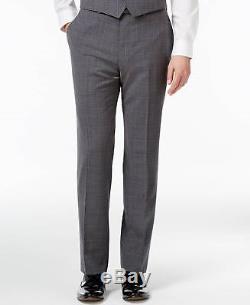 $854 CALVIN KLEIN Mens Slim Fit Wool Suit Gray 3 PIECE JACKET PANTS VEST 42R