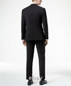 $854 Calvin Klein 38R Mens Black Slim X Fit Wool Suit 2 Piece Solid Jacket Pants