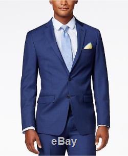 $864 CALVIN KLEIN Men Extreme Slim X Fit Wool Suit Blue 2 PIECE JACKET PANTS 38R