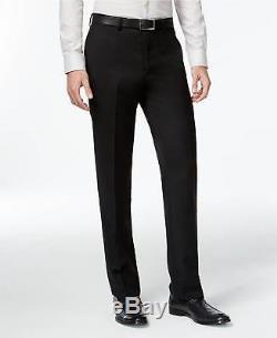 $865 CALVIN KLEIN Mens Slim Fit Wool Suit Black Solid 2 PIECE JACKET PANTS 44R