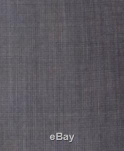 $865 DKNY Mens Slim Fit Wool Suit Gray Check Plaid 2 PIECE JACKET PANTS 38 R