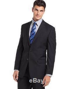 $875 CALVIN KLEIN Mens Slim Fit Wool Suit Blue Stripe 2 PIECE JACKET PANTS 44S