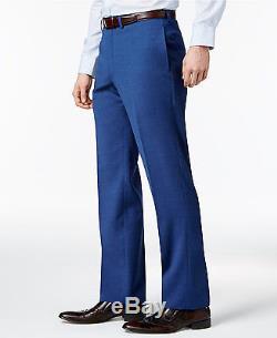 $885 CALVIN KLEIN Mens 2 PIECE Slim Fit WOOL SUIT Blue Pin Dot JACKET PANTS 42 S