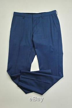 $895 HUGO BOSS Huge/Genius Twill Blue Slim Fit Suit 38R / 32 x 32 Flat Pant
