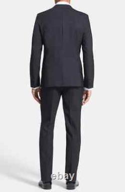 $895 HUGO BOSS Men's Black Slim Fit Aylor Herys Tuxedo 2 PC Suit 44L 37W