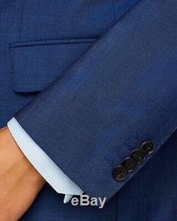 $895 NWT Hugo Boss Huge/Genius Blue Twill Solid Slim Fit Suit 38R
