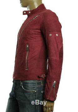 $898 New Mens Diesel 100% Sheepskin Leather Slim Fit L Mackson Moto Jacket L / M
