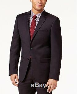 $899 Calvin Klein Men'S Red Slim Fit Wool 2 Piece Suit Jacket Blazer Pants 38 R
