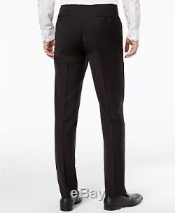 $900 CALVIN KLEIN Men 36 S BLACK EXTREME SLIM FIT WOOL TUXEDO SUIT JACKET PANTS