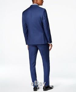 $900 CALVIN KLEIN Men's BLUE EXTREME SLIM FIT WOOL SUIT JACKET BLAZER PANTS 40 R