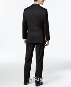 $900 CALVIN KLEIN Mens Slim Fit Wool Suit Black Solid 2 PIECE JACKET PANTS 38 R