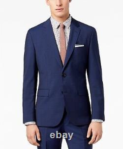 $928 Hugo Boss Men'S Slim Fit Wool Blue Plaid Suit Jacket Sport Coat Blazer 44r