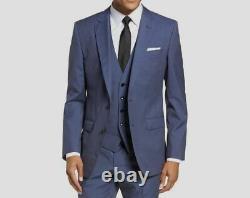 $979 Hugo Boss Men's 44R Blue Slim Fit Wool Suit Jacket Blazer Sport Coat
