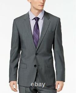 $995 Hugo Boss Men'S Slim Fit Wool Suit Gray Solid Jacket Sport Coat Blazer 38s