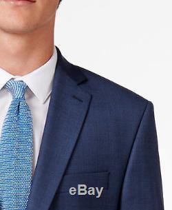 $999 CALVIN KLEIN Mens Slim Fit 2 PIECE WOOL SUIT Solid Blue JACKET PANTS 42 R