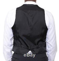 Armani Collezioni Executive Slim Fit 44r 56 Black Striped Three Piece Wool Suit