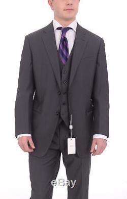 Armani Collezioni Giorgio Slim Fit 42r 52 Gray Striped Three Piece Wool Suit