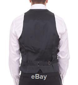 Armani Collezioni Giorgio Slim Fit 48r 60 Black Striped Three Piece Wool Suit