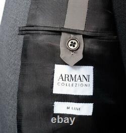 Armani Collezioni M Line Navy Gray Tic-Weave Slim-Fit Suit 58 fits 46 / 44 R