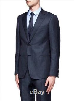 Armani Collezioni Navy Blue Notch Lapel Slim Fit Linen Suit Size 40R $1895.00