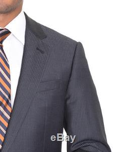 Armani Collezioni Slim Fit 38R 48 Gray And Blue Striped Two Button Wool Suit