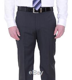 Armani Collezioni Slim Fit Charcoal Gray Striped Three Piece Wool Suit