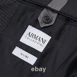 Armani Collezioni Slim-Fit'M-Line' Dark Gray Subtle Check Wool Suit 38R