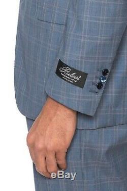 BELVEST Blue Fine Wool Super 150's Silk Suit Checks 40 US / 50 EU 8R Slim Fit