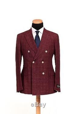 BELVEST Double Breasted Pure Linen Suit Checks Burgundy 42 US 52 EU 9R Slim Fit