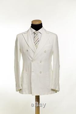 BELVEST Double Breasted Pure Linen Suit White Summer 40 US 50 EU 8 R Slim Fit