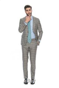BELVEST Fine Wool Super 150's Silk Gray Brown Suit 40 US / 50 EU 8R Slim Fit