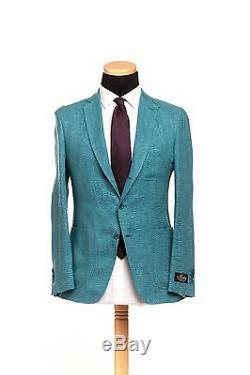 BELVEST Hand Made in Italy Pure Linen Suit Aquamarine 40 US 50 EU 8 R Slim Fit
