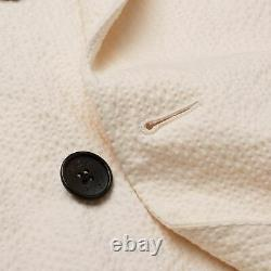 BELVEST Handmade Cream Cotton Seersucker DB Suit EU 48 NEW US 38 Slim Fit
