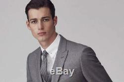 BNWOT Reiss'Samuel' Peak Lapel Modern Grey Slim Fit Suit Size 36 W30
