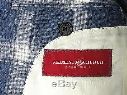 Bnwt Mens Clements & Church Navy Box Check Slim Fit Made-to-measure Suit 38r W32