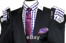 Bnwt Mens Hackett London Navy/ Black Fine Pinstripes Slim Fit Suit 46r W40 X L32