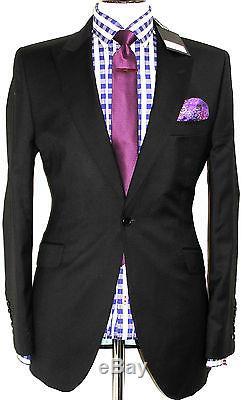 Bnwt Mens Holland Esquire Esq London Plain Black Slim Fit Suit 42r W36 X L32
