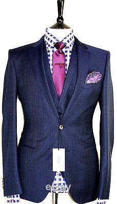 Bnwt Mens Hugo Boss Navy Birdseye Tailor-made Slim Fit 3 Piece Suit 38r W32 L32