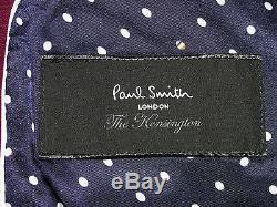 Bnwt Mens Paul Smith The Kensington Burgundy Slim Fit Tailor-made Suit 40r W34