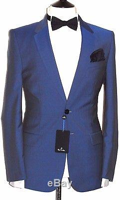 Bnwt Mens Paul Smith The Ps Sharkskin Baby Blue Slim Fit Suit 40r W34