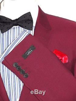 Bnwt Mens Paul Smiththe Kensington Burgundy Slim Fit Tailor-made Suit 40r W34