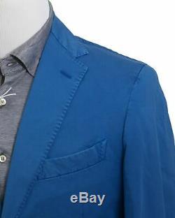 BOGLIOLI Royal Blue Slim-Fit Cotton & Linen Suit 38 (EU 48) Made in Italy