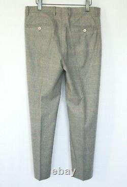 BRUNELLO CUCINELLI wool cashmere flannel gray glen plaid slim fit suit 50/48-IT